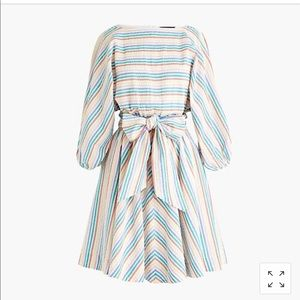 dolman-sleeve mini dress in rainbow seersucker